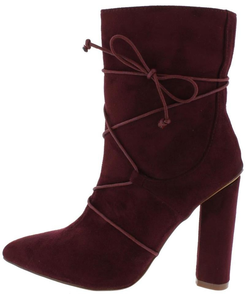 Image of Wine Block Heel Ankle Boots
