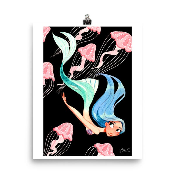 Image of Jellyfish Mermaid Print