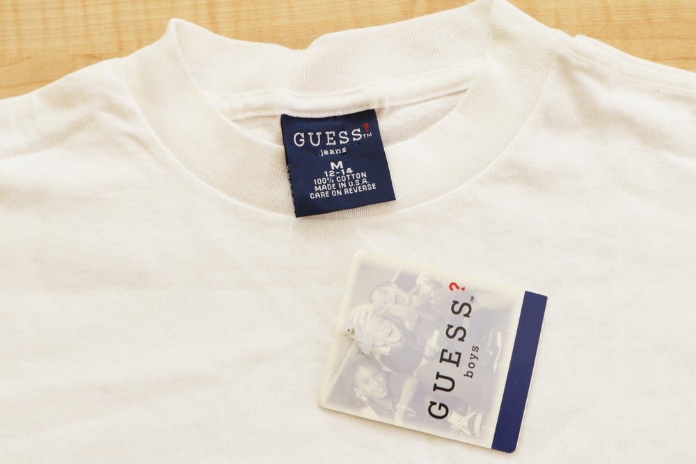 Image of Vintage 1990's Guess Jeans USA Box Logo Psychedelic T-Shirt Sz.M (Youth)