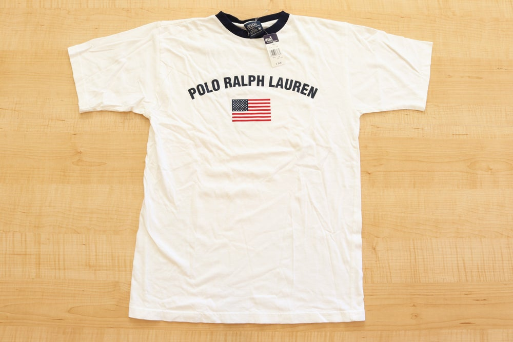 Image of Vintage 1990's Ralph Lauren Polo USA Spell Out T-Shirt Sz.M (Youth)