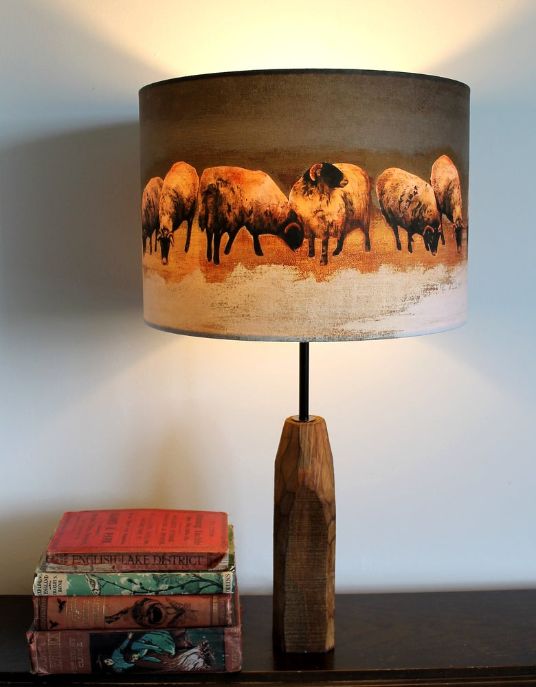 Image of 'Winter Swaledales' Drum Lampshade by Lily Greenwood (30cm, Table Lamp or Ceiling)