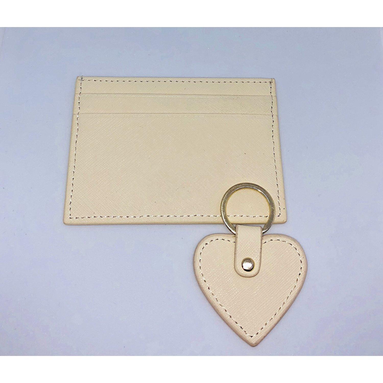 image of saffiano card holder keyring set cream - Card Holder With Keyring