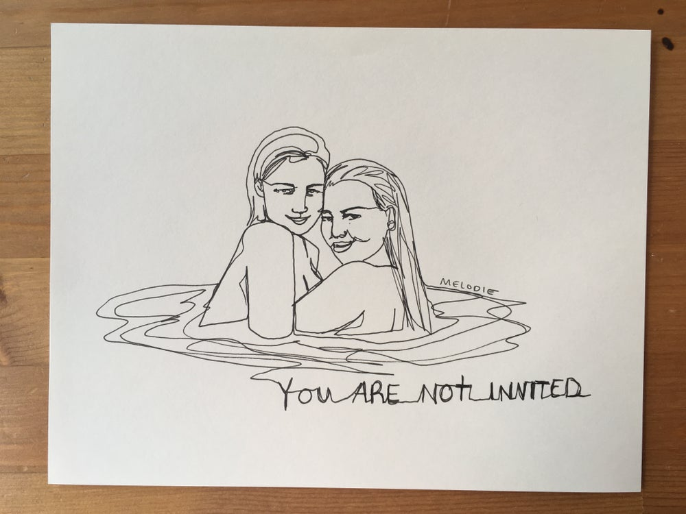Image of original - one line - you are not invited
