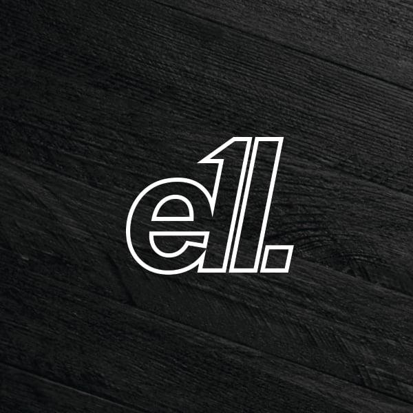 Image of E11evens - White E11 text outline 100mm sticker