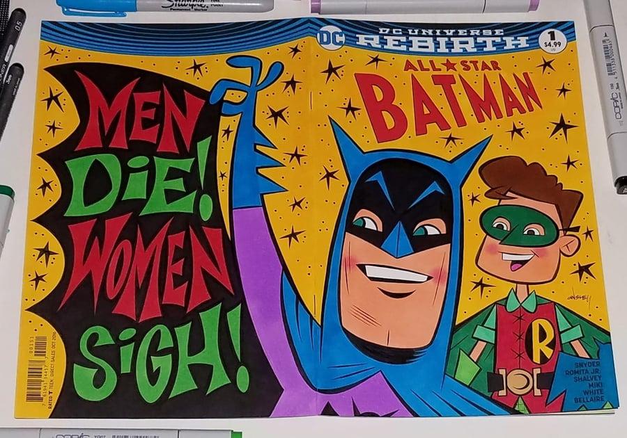 Image of ALL-STAR BATMAN #1 ORIGINAL ART WRAP-AROUND SKETCH COVER! BATMAN & ROBIN!