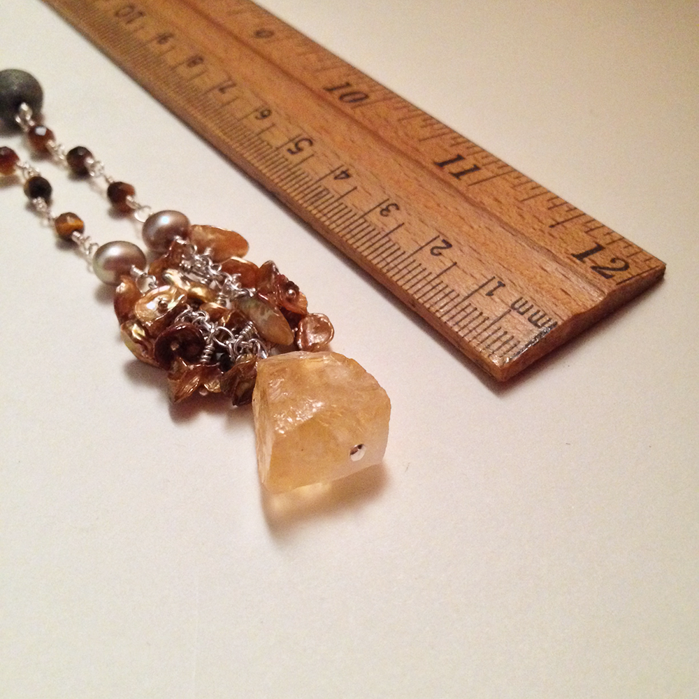 Image of The Wheel of Fortune Sterling Silver Citrine Freshwater Pearl Matte Pyrite Gemstone Amulet Necklace