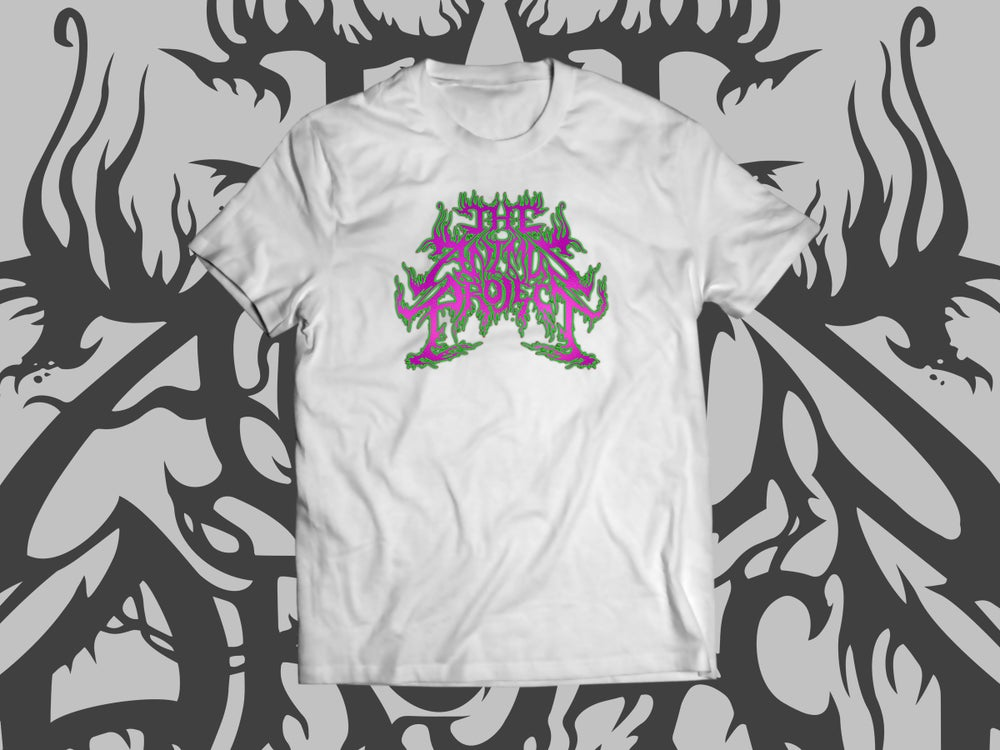 Image of The Animus Project LOGO T shirt (Green & Purple on White)