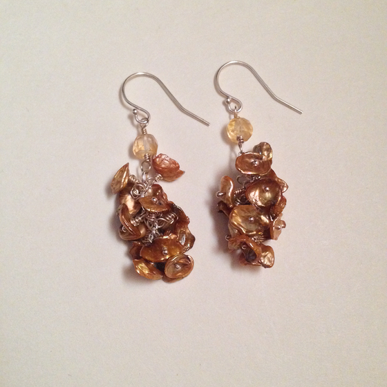 Image of The Wheel of Fortune Citrine Freshwater Keishi Pearl Sterling Silver Earrings | Nickel-Free Tarot