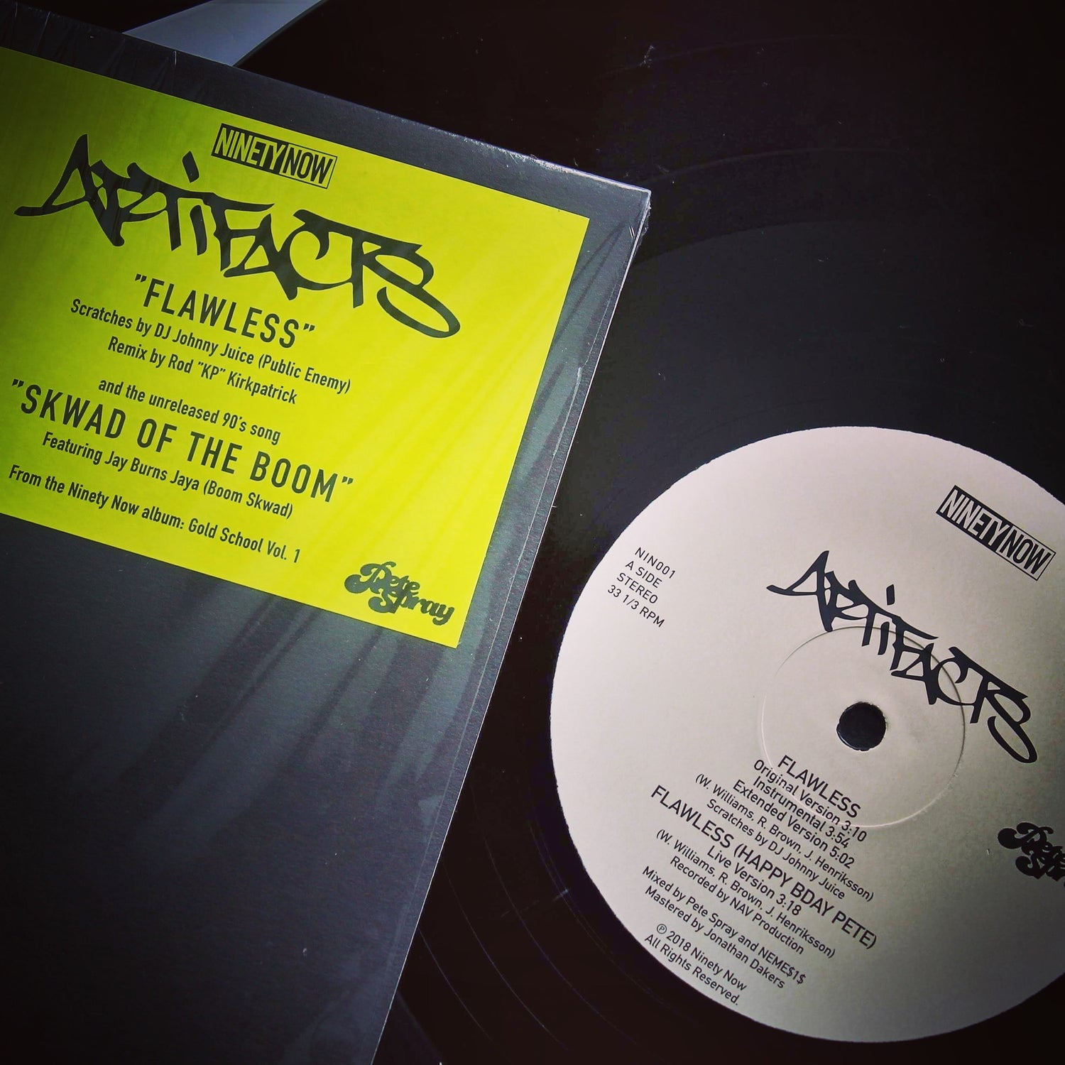 "Image of Ninety Now presents Artifacts ""Flawless"" b/w ""Skwad of the Boom"" 12-inch"