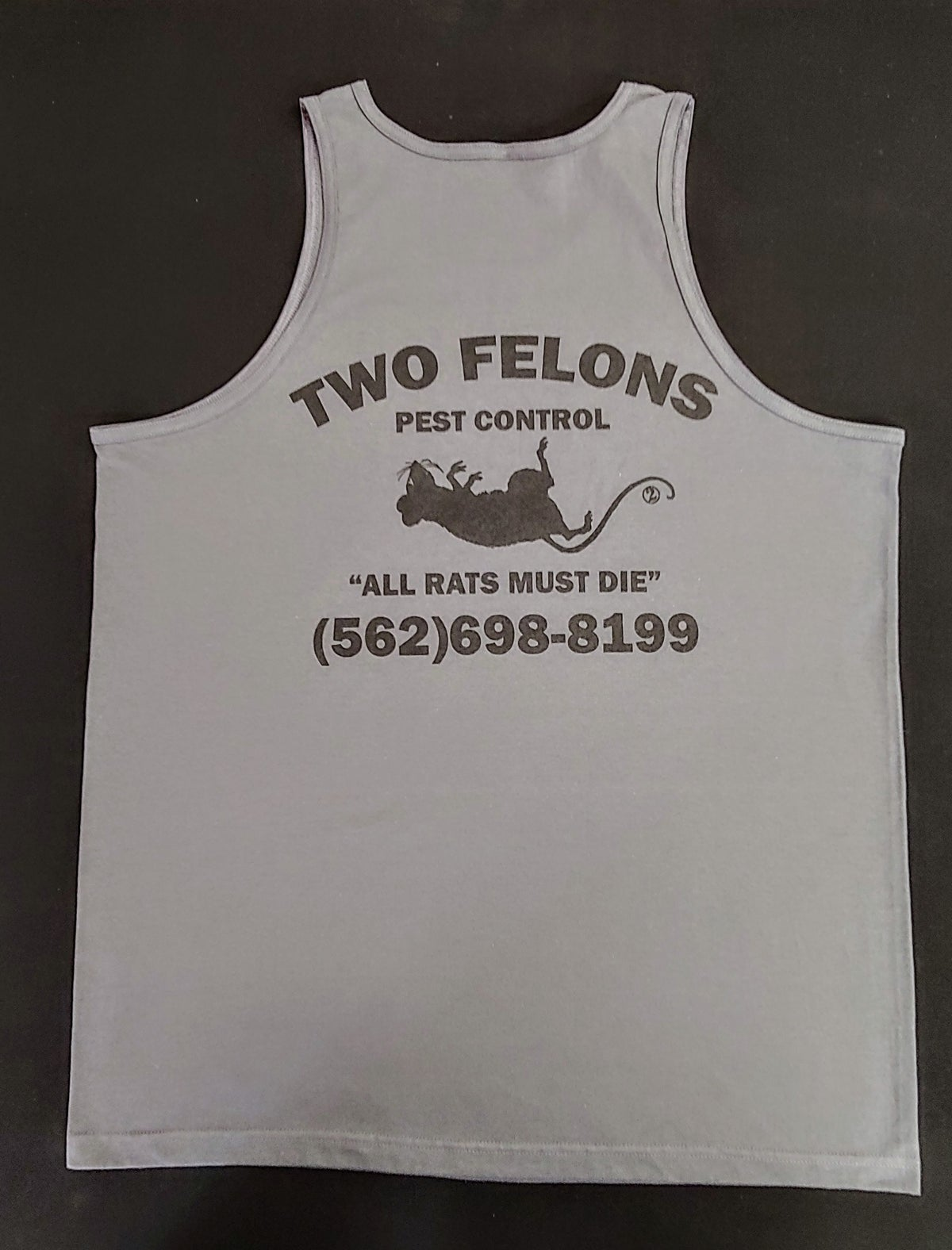 """Two Felons """"Pest Control"""" tank top (Char)"""
