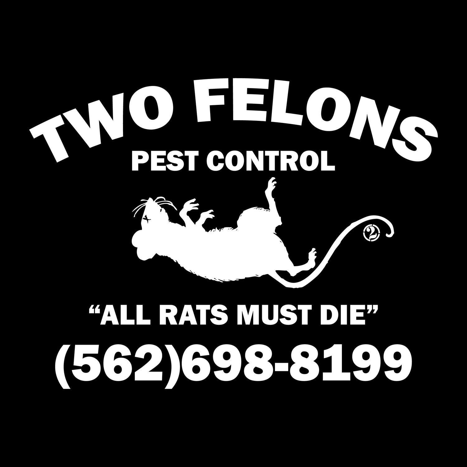 "Image of Two Felons ""Pest Control"" tank top (black)"