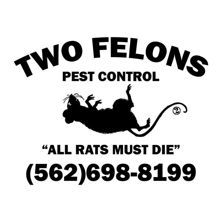 "Image of Two Felons ""Pest Control"" tank top (white)"