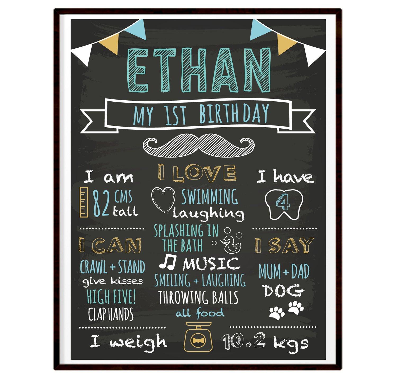 Image of Little Man 1st Birthday Milestone Board