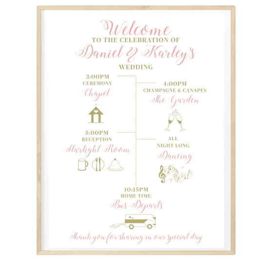 Image of Personalised Wedding Day Timeline