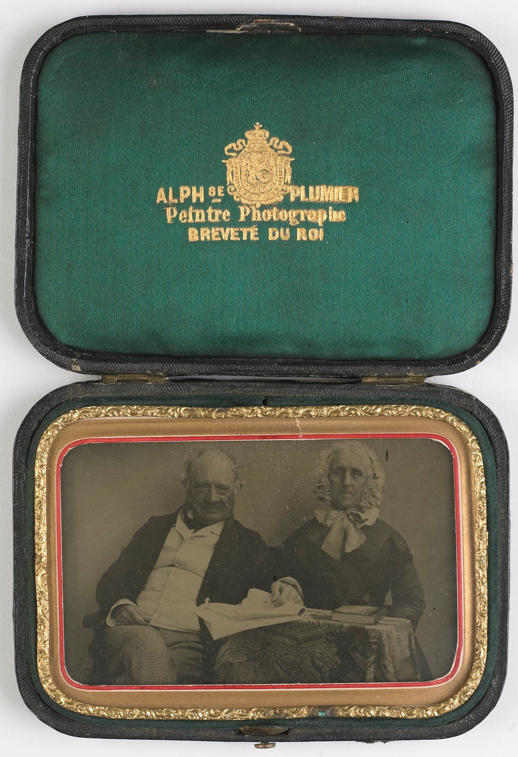 Image of Alphonse Plumier: ambrotype of a man and woman in a signed case, ca. 1860