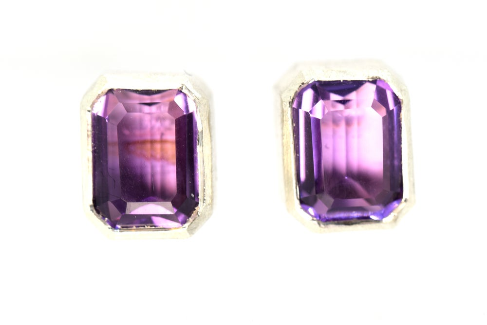 Image of Single stone studs, Sterling studs set with amethyst