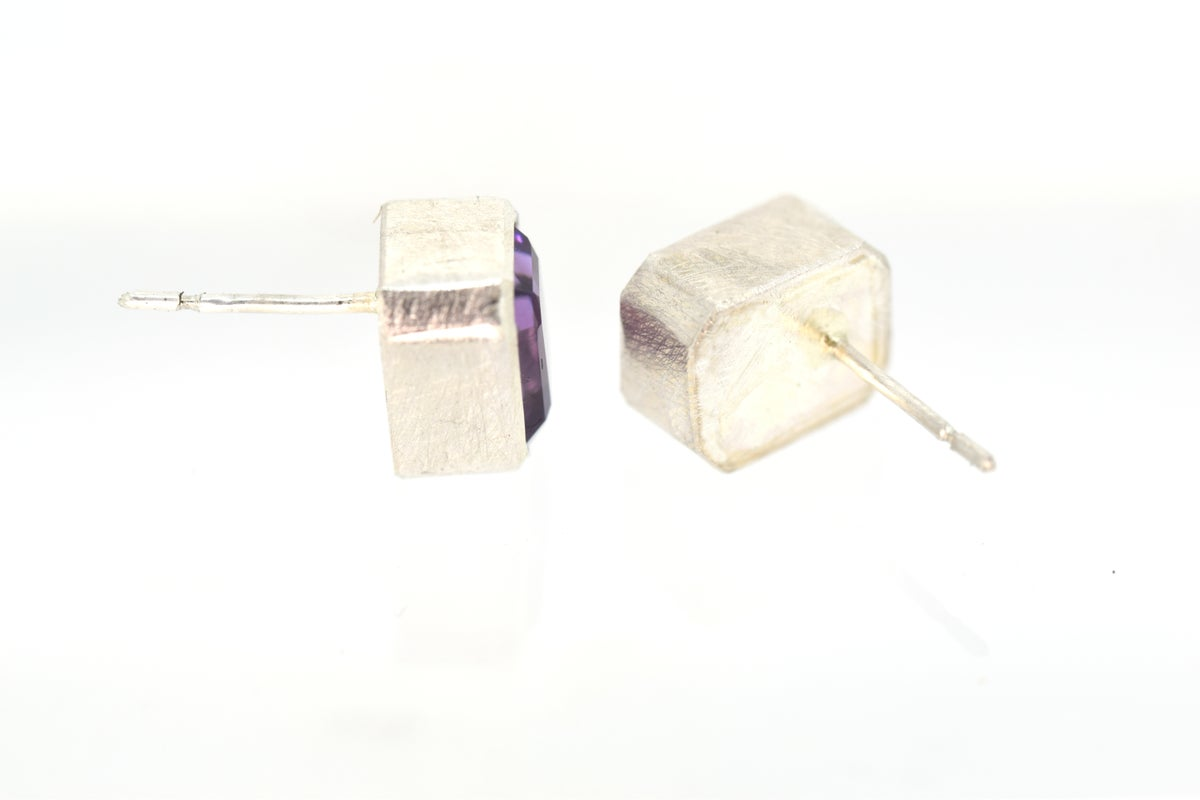 Single stone studs, Sterling studs set with amethyst