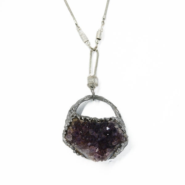 Image of Raw amethyst and tin necklace