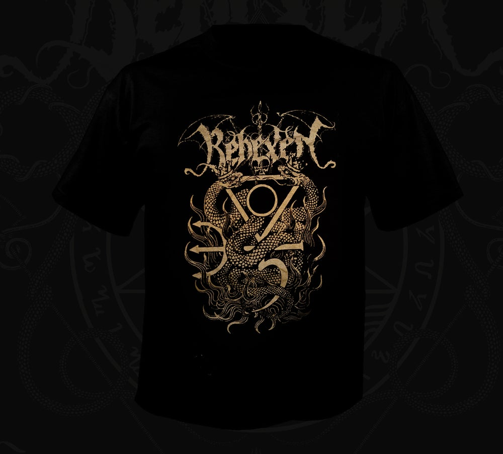 """Image of """"Twin-Serpent"""" T-shirt (black/gold)"""