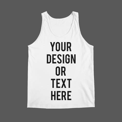 Image of Any Text on White Tank Top