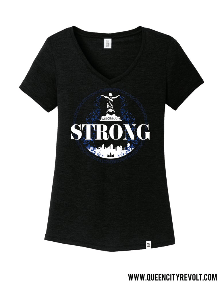 Image of Cincinnati Strong, Women's Triblend Vneck Tee, Black