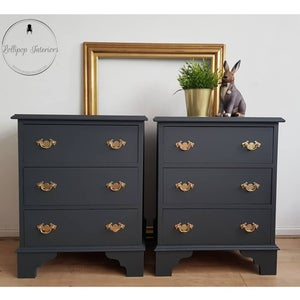 Image of Stunning bedside tables in dark grey and gold