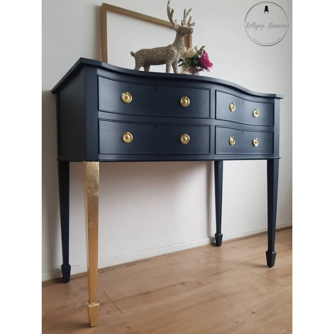 Navy and gold console table