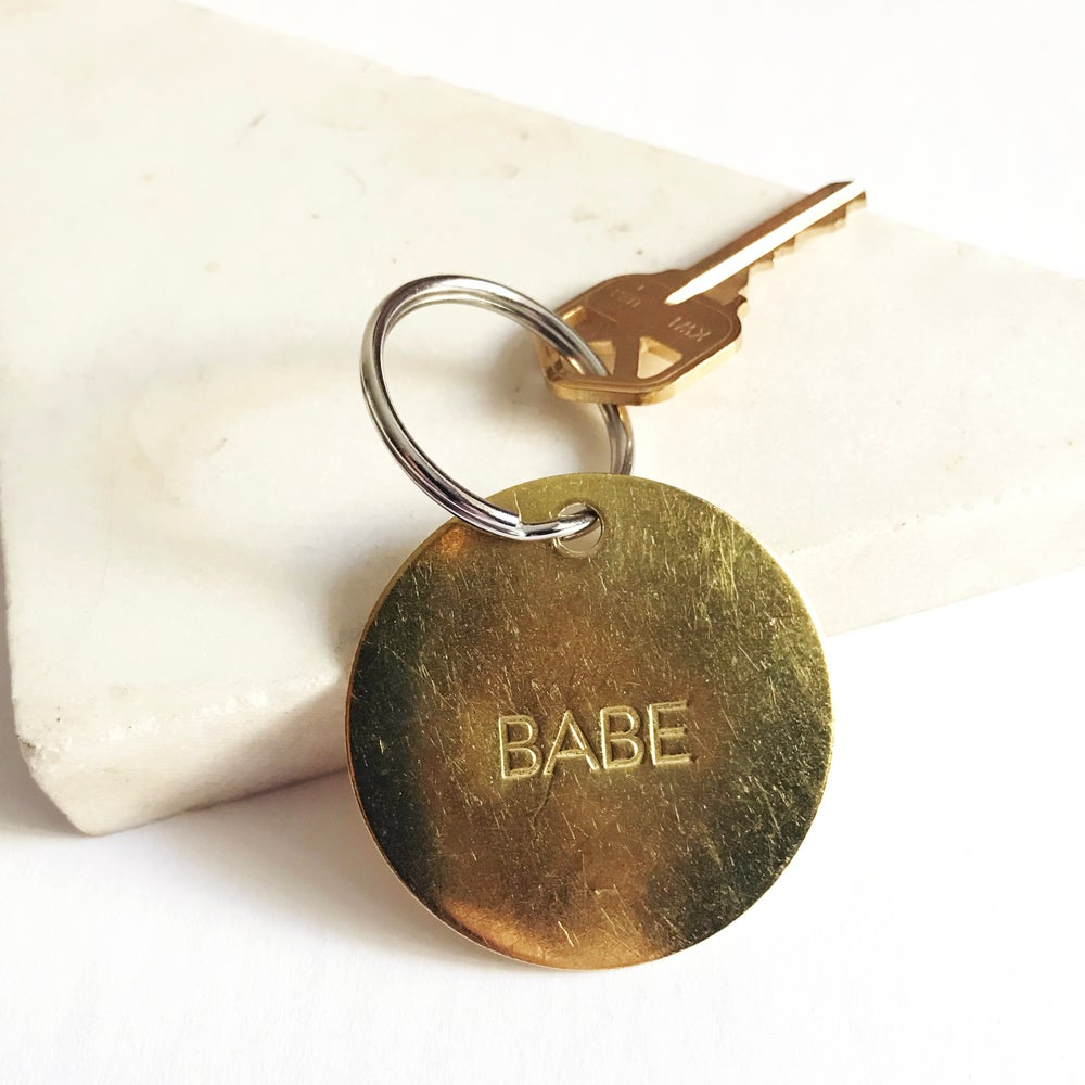 Image of BABE // <br> LARGE BRASS KEYCHAIN