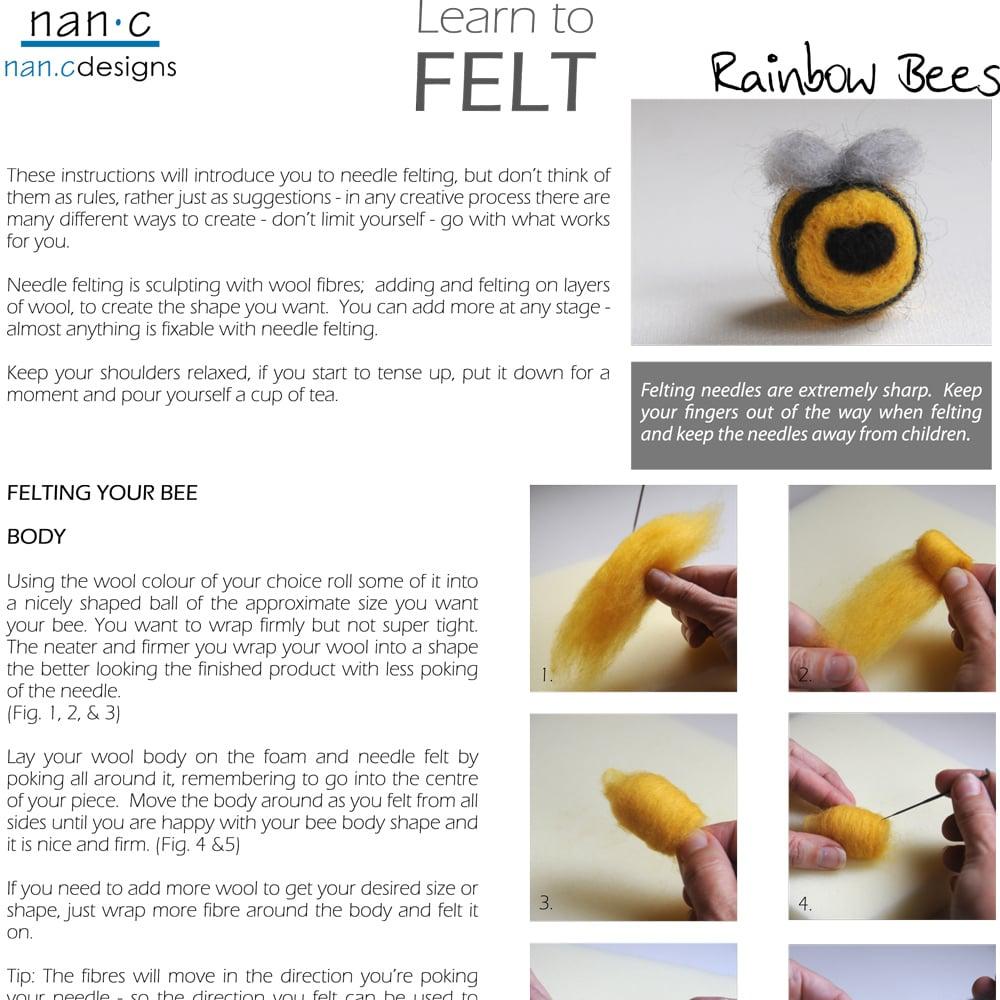 PDF Rainbow Bees Felting Instructions