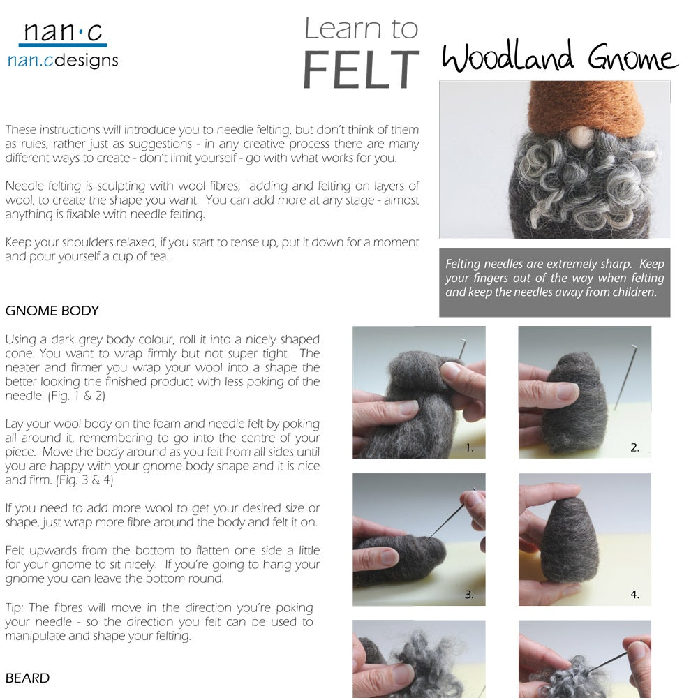 Image of PDF Woodland Gnome Felting Instructions