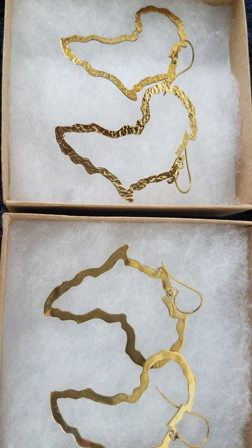 Image of Africa map earring brass