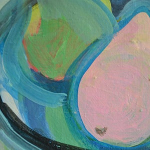 Image of Contemporary Canvas, 'Pink Pear' Poppy Ellis