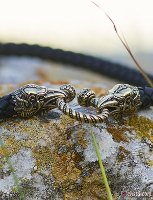 Image of Thor's Hammer : MJOLNIR - Huginn & Muninn Leather Necklace