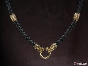 Image of Raven Heads Leather Necklace - HANDMADE