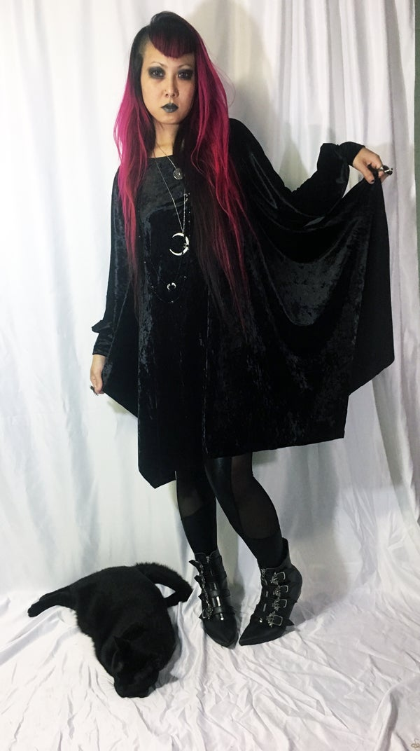 Image of Bishop Sleeve Dress on Black Velvet