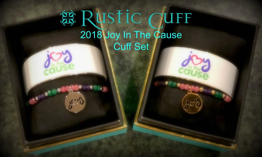 Image of 2018 Joy In the Cause Art Deco Rustic Cuff Set