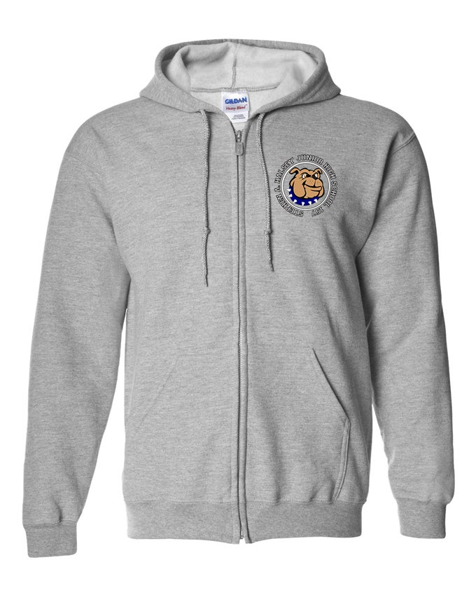 Image of HALSEY BULLDOGS LOGO ZIP FRONT HOODIE GREY