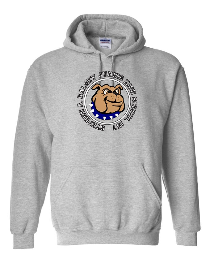 Image of HALSEY BULLDOGS LOGO HOODIE SWEATSHIRT GREY