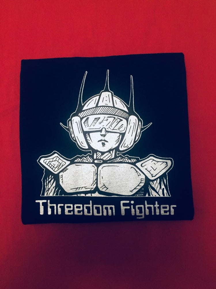 Image of Threedomfighter on Black T-Shirt