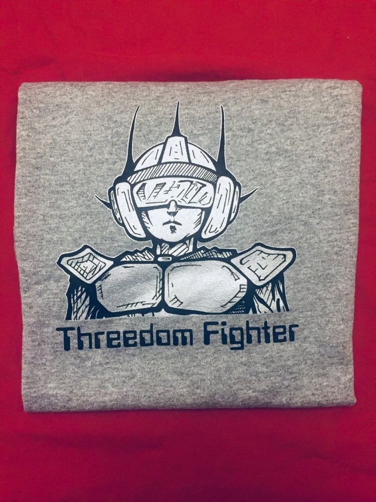 Image of Threedomfighter on Grey T-Shirt
