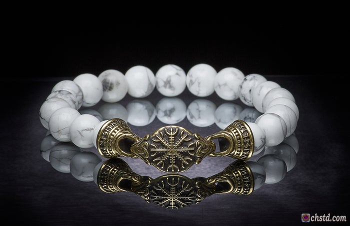 Image of AEGISHJALMUR BRACELET - Howlite  <br> HALLOWEEN SALE, the price is reduced!