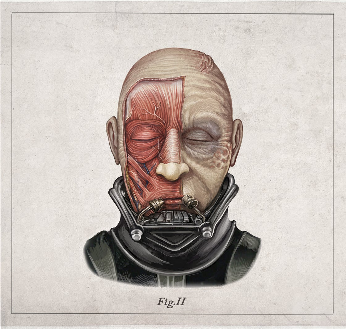 Image of DARTH VADER - head anatomy  (limited ed. of 50 Giclèe  wide print on fine art canvas)