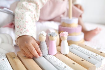 Image of Wooden Peg Dolls & Flower Crowns (set of 3)