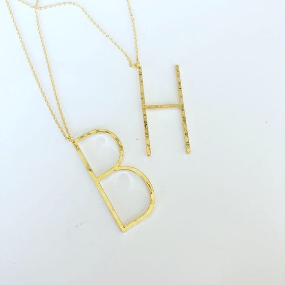 Image of Single hanging chunky initial necklace