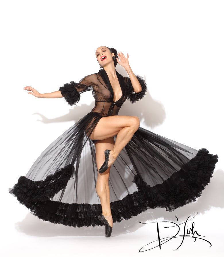 "Image of ""Juliette"" Sheer Black Ruffled Dressing Gown 40% Off Discount Code: WHEREFOREARTTHOU"