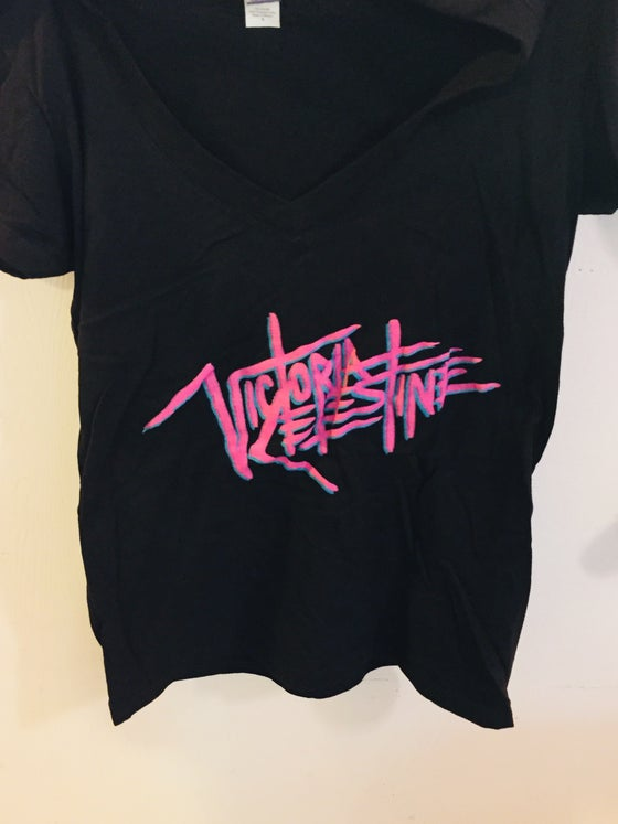 Image of WOMEN'S PINK LOGO V-NECK TEE