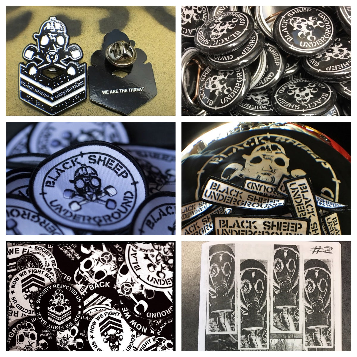 "Image of BSU Big Munitions Pack- 1 Enamel Pin/(5) 1"" Round Pins/1 Target + 1 Militia Patch/Sticker Pack/Zine"