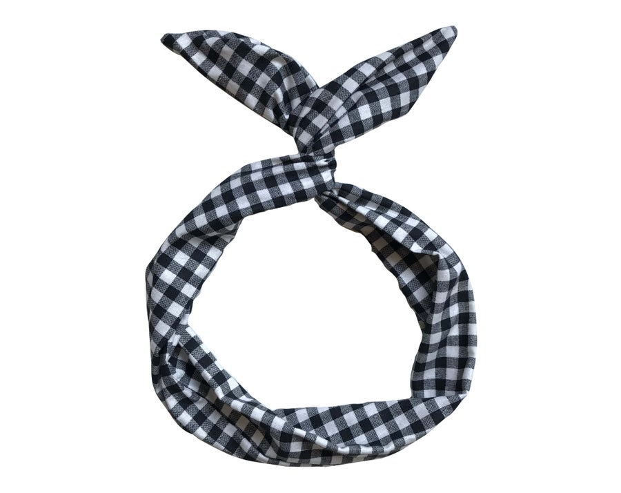 Image of Black & White Gingham Wire Headband