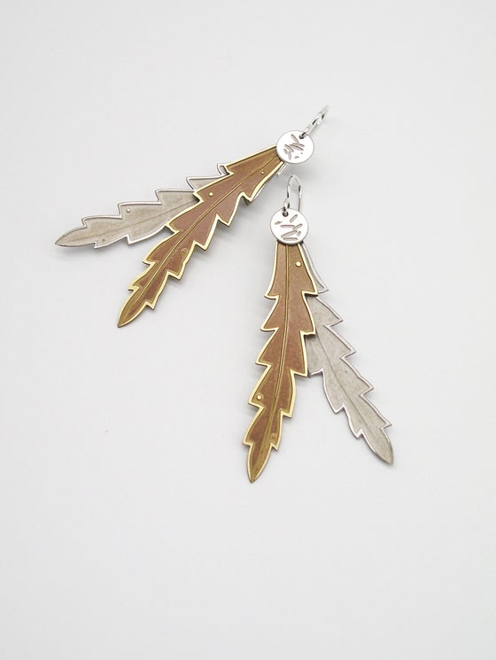 Image of LEAF EARRING: BANKSIA POLLEN DOUBLE (BRASS & ST STEEL)