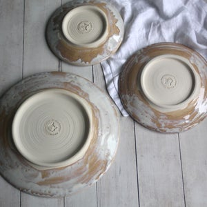 Image of Three Piece Dinnerware Place Setting in Rustic White and Ocher Glaze Made in USA